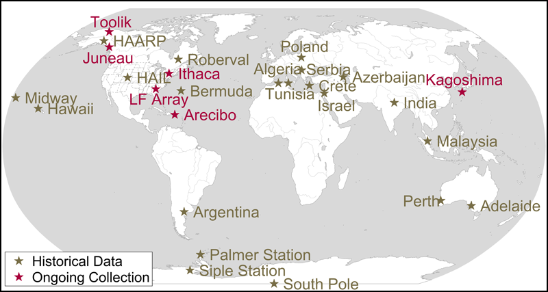 Partial map of VLF sites that have, or still are, collecting data included in the WALDO database