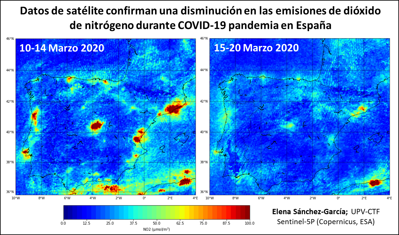 Maps of Spain depicting nitrogen oxide levels in early and mid-March 2020