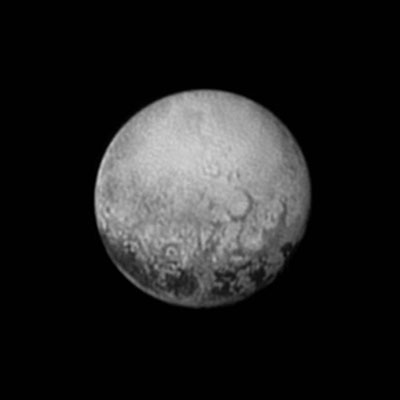 Black-and-white satellite image of Pluto's far side