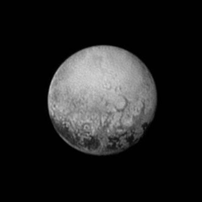 Black-and-white satellite image of Pluto's far side