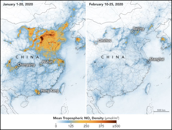 Maps of eastern China, Korea, and Japan showing nitrous dioxide emissions in January and February 2020