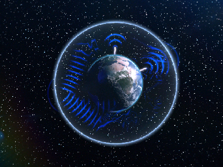 Illustration of Earth depicts Schumann resonances of thunderstorms