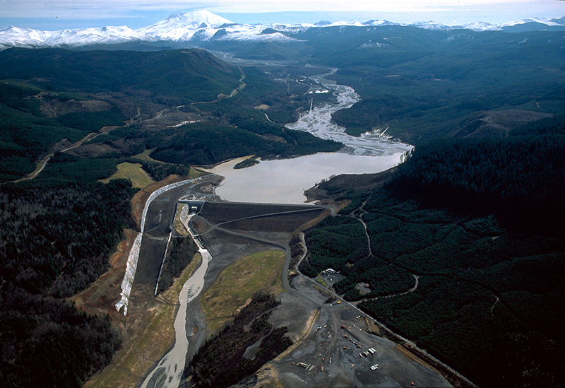 A sediment-retention dam on the North Fork Toutle River constructed by the U.S. Army Corps of Engineers
