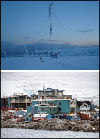 A very low-low frequency (VLF) radio antenna sits atop a glacier in 2006 (top) near Palmer Station on the Antarctic Peninsula (bottom).