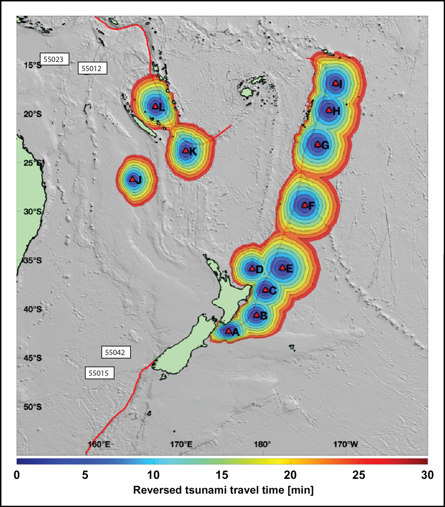 Diagram showing travel times to the nearest DART buoy for a tsunami generated within the indicated regions