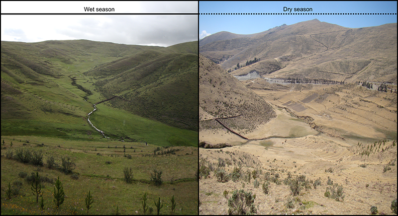Side-by-side images of a valley in wet and dry seasons