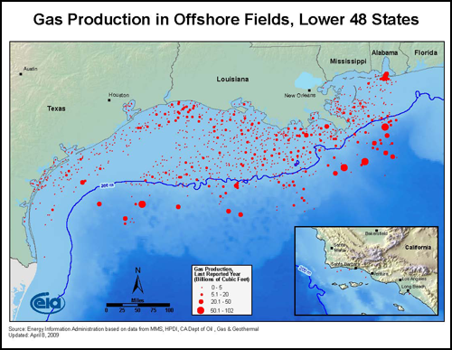 Map of oil and gas wells off the Gulf Coast of the United States