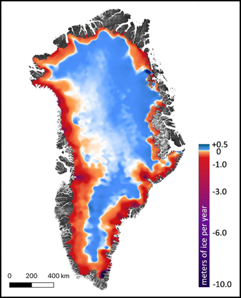 Map of Greenland showing loss of the ice sheet