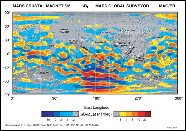Map of Mars showing magnetism in crustal rocks