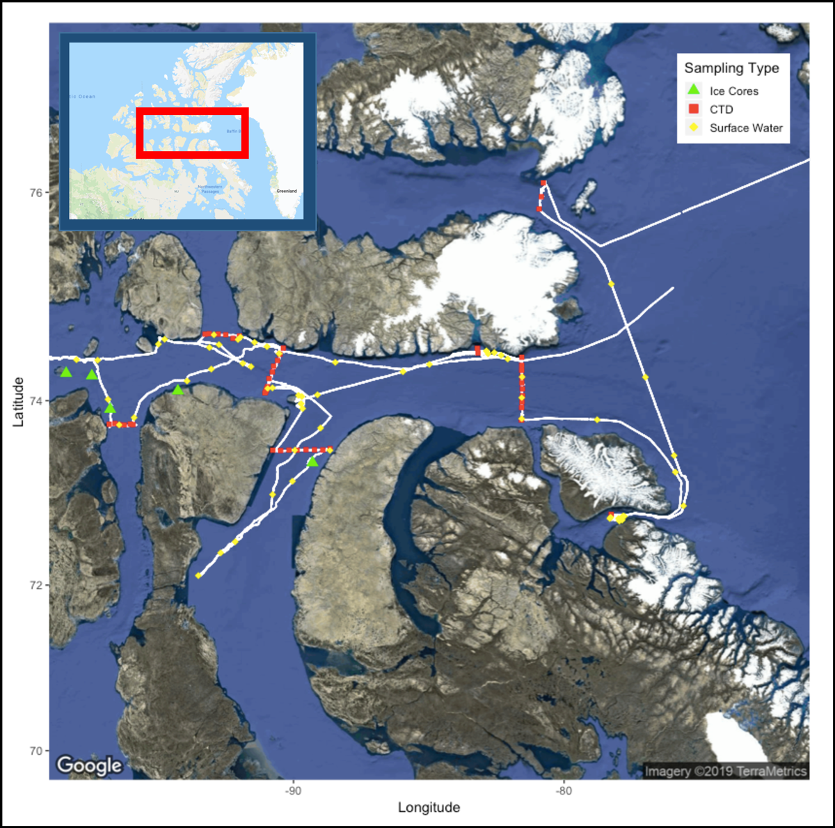 Map of ship track and sampling locations during the 2019 Northwest Passage Project expedition