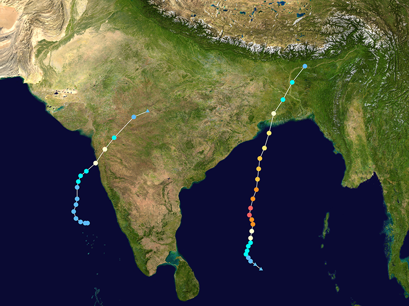Two cyclone tracks in the Indian Ocean in 2020
