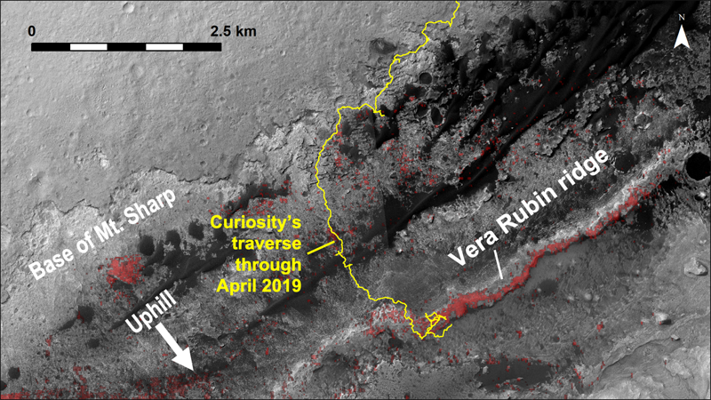 Orbital view of Curiosity's traverse and Vera Rubin ridge