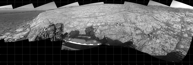 A portion of a 360˚ mosaic taken using Curiosity Navcam as the rover ascended Vera Rubin ridge