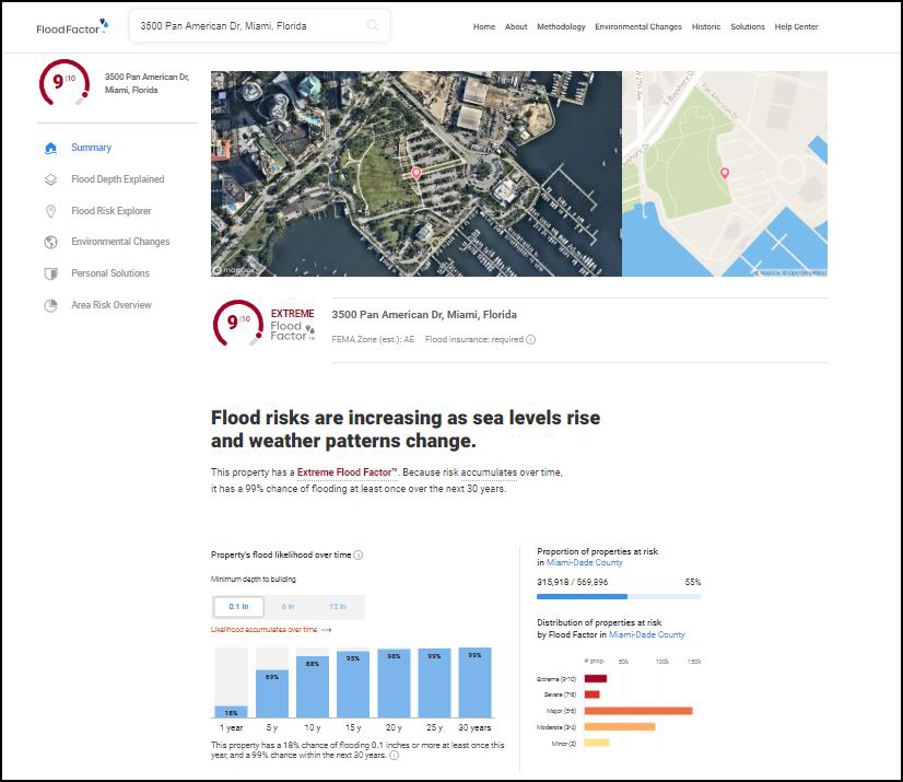 A screenshot from First Street Foundation's website showing the Flood Factor flood risk of city hall in Miami, Fla.