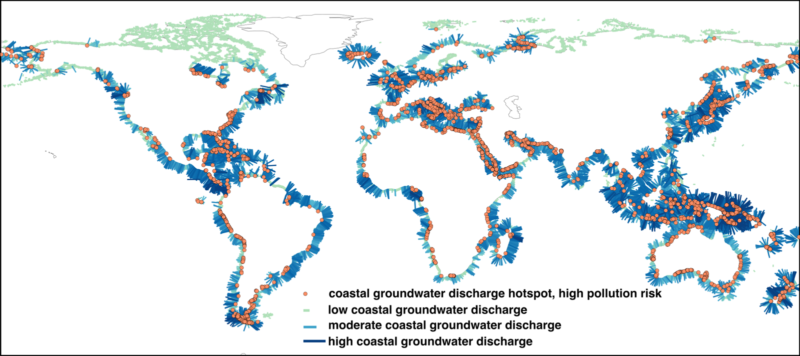 World map showing intensity of groundwater discharge into oceans