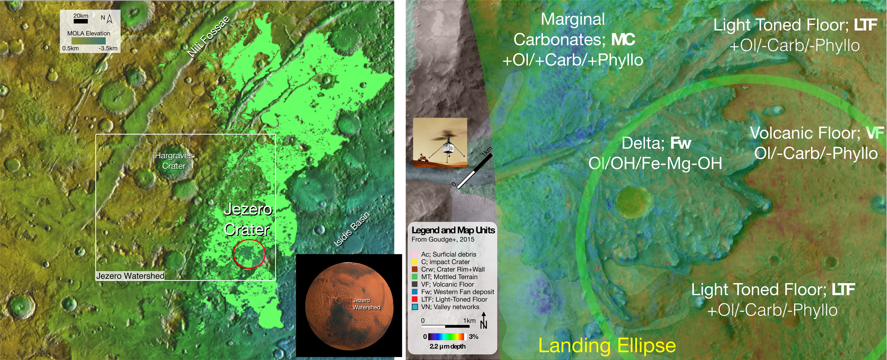 Maps of Mars's surface near Jezero Crater showing local mineralogy