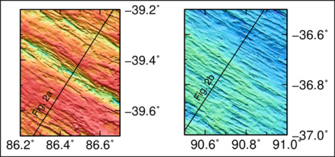 Two small sections of high-resolution bathymetry of the Southeast Indian Ridge that show evidence of porosity waves