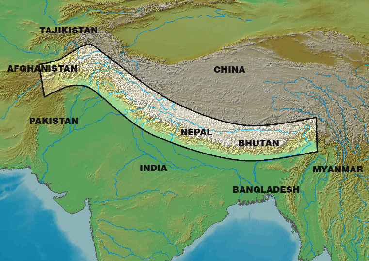 Map of the Himalayas crossing eight countries