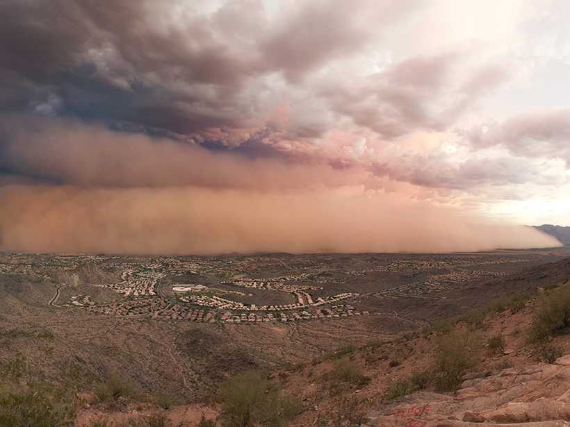 A dust storm approaches the outskirts of Phoenix, Ariz., in 2011.