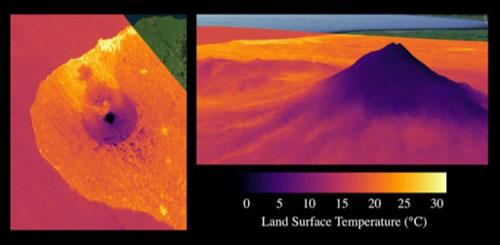 ECOSTRESS land surface temperature data near Mount Taranaki, New Zealand