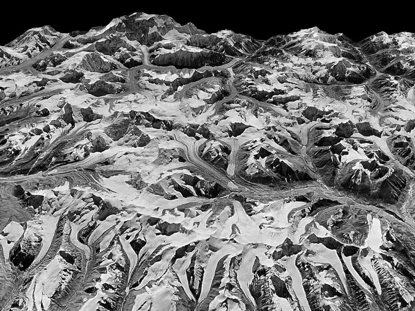 Three-dimensional view of Himalayan glaciers