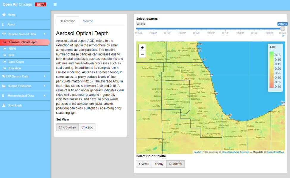 Fig. 1. This view of the Open Air Chicago dashboard shows an aerosol optical index map for the city of Chicago and surrounding areas.