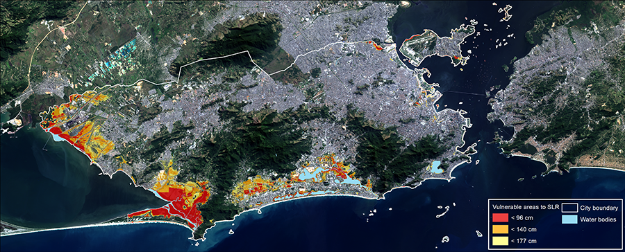 Areas of Rio de Janeiro most vulnerable to sea level rise (SLR) by 2080 are shown here shaded in yellow, orange, and red, corresponding to land elevations, from a NASA–Rio de Janeiro joint study that combined local measurements, a lidar survey of city topography, satellite altimetry data from TOPEX/Poseidon and the Jason missions, and CMIP5 climate projections