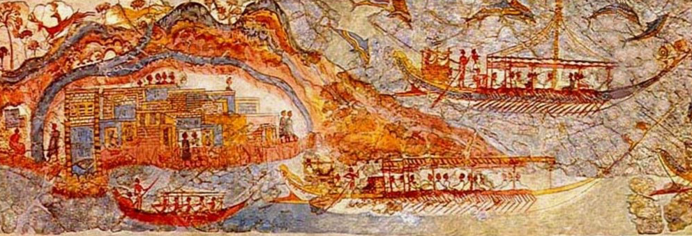 A Minoan fresco depicting ships traveling between two cities