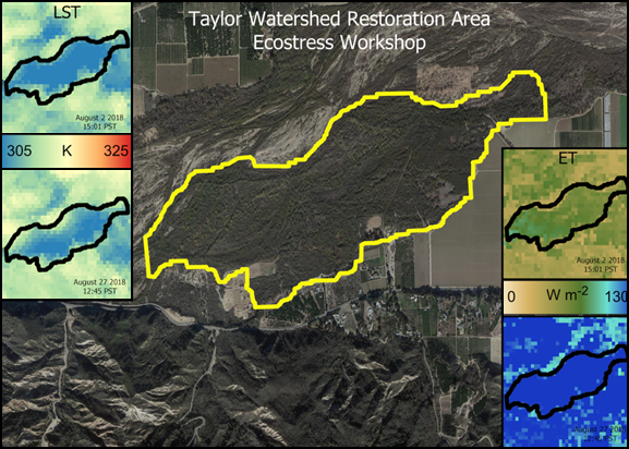 Satellite figure showing an area near California's Santa Clara River that meeting participants mapped and studied using ECOSTRESS data