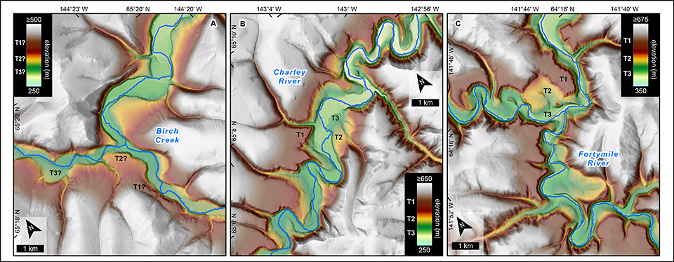 Maps showing elevations and topography of three river basins of the northern Yukon-Tanana upland