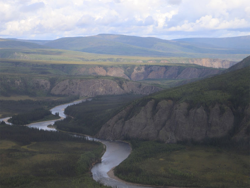 Aerial view of the Charley River and the surrounding landscape in Alaska