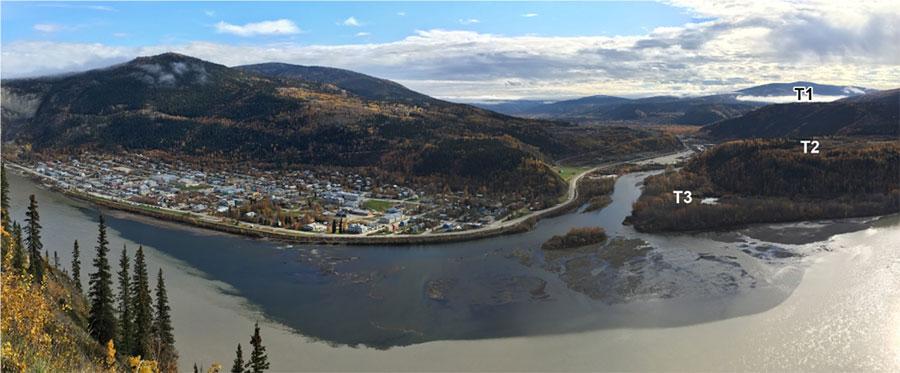 Panorama of the confluence of the Klondike and Yukon rivers at Dawson City, Yukon, Canada