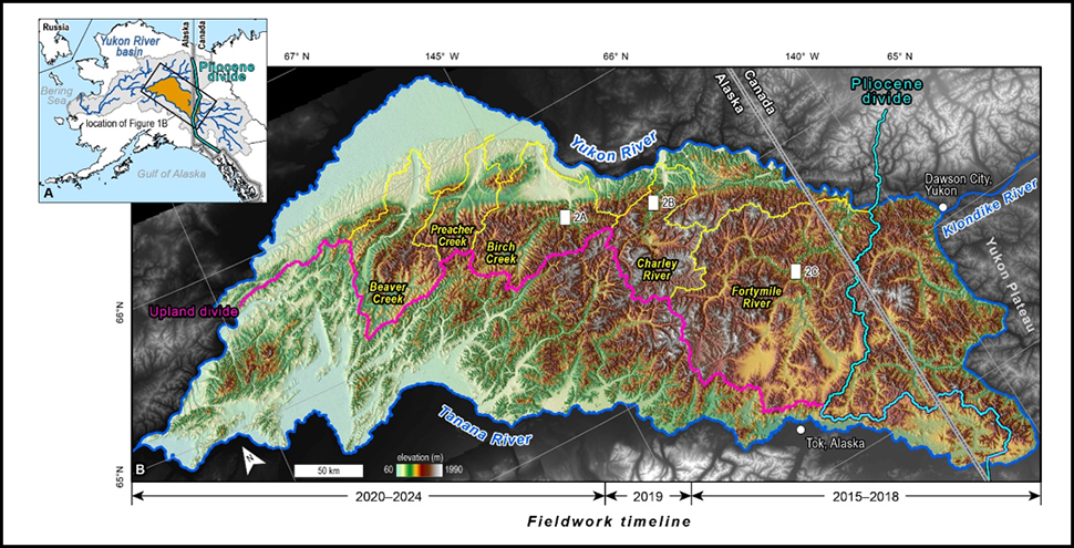 Map of the setting and topography of the Yukon-Tanana upland of eastern Alaska and western Yukon, Canada