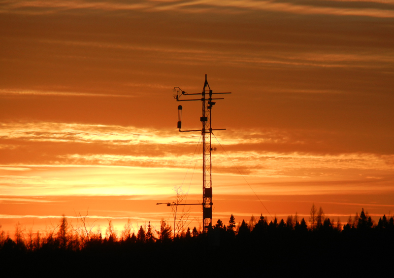 Sunset behind an eddy covariance tower at Lost Creek in Wisconsin