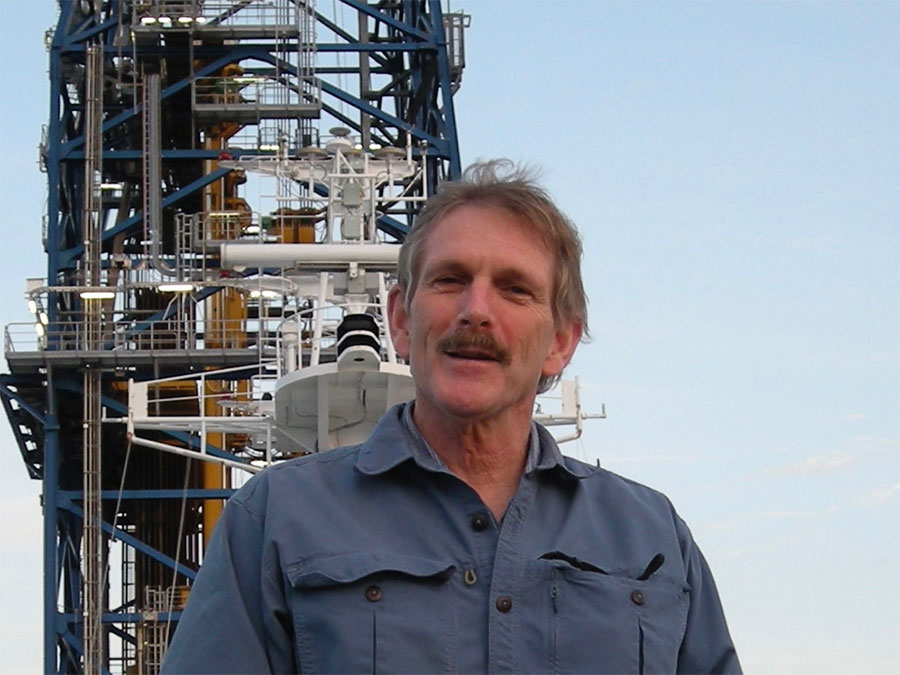 Casey Moore aboard the drilling vessel Chikyu