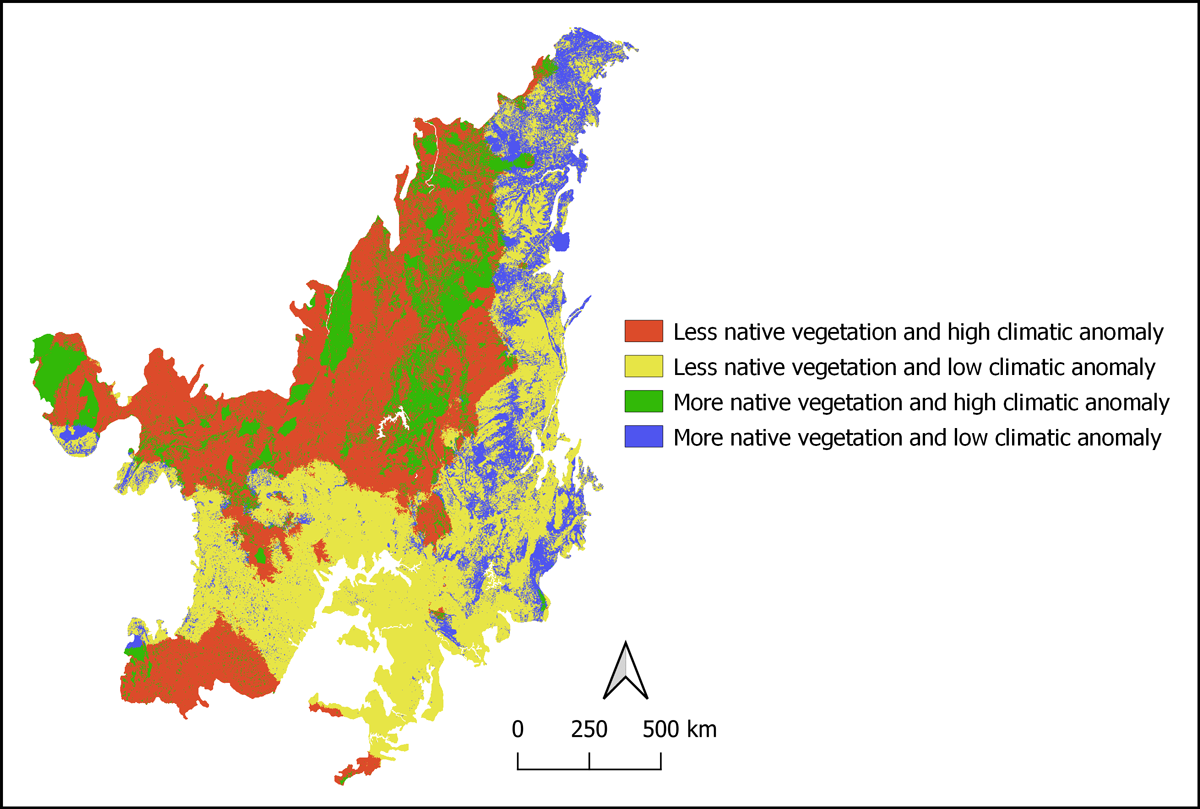 Map of the Cerrado region of Brazil, comparing native vegetation and climate anomalies