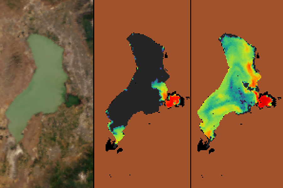 Figure showing Utah Lake as seen by satellite in true color and with satellite-derived data of cyanobacteria concentrations