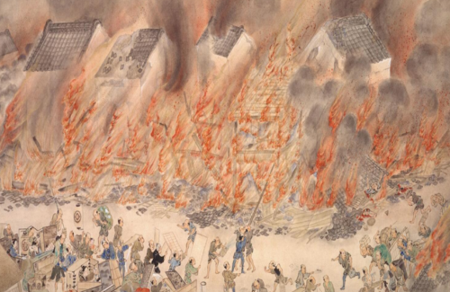 A scene from a Japanese picture scroll depicting the 1855 Edo earthquake