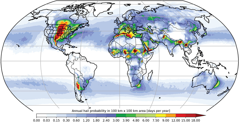 Global map showing annual large hail probability from 1979 to 2015