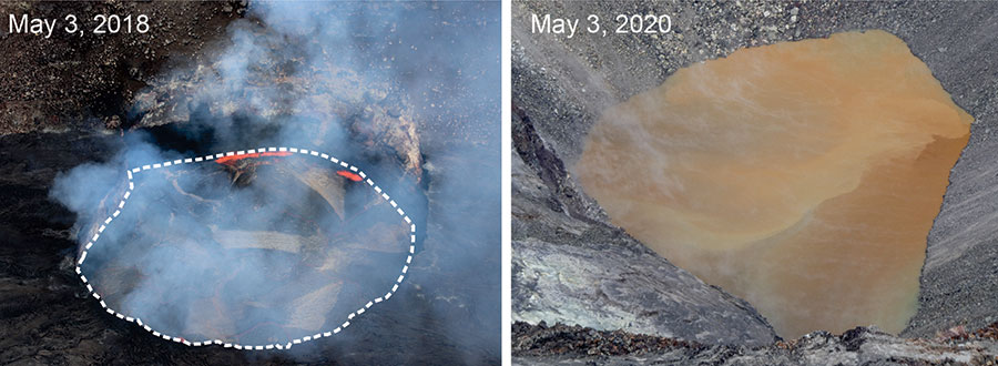 The lava lake in Kīlauea's Halema'uma'u Crater On 3 May 2018 (left) compared with a water lake in the crater on 3 May 2020 (right)