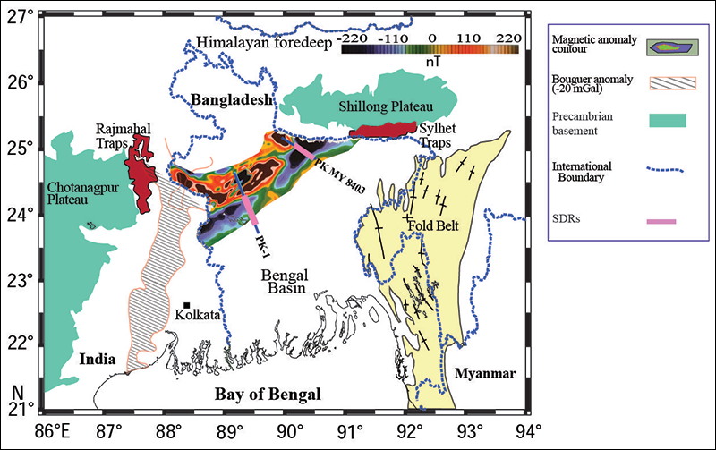 Map of the Bengal Basin, north of the Bay of Bengal, showing important geologic features, including a large magnetic anomaly