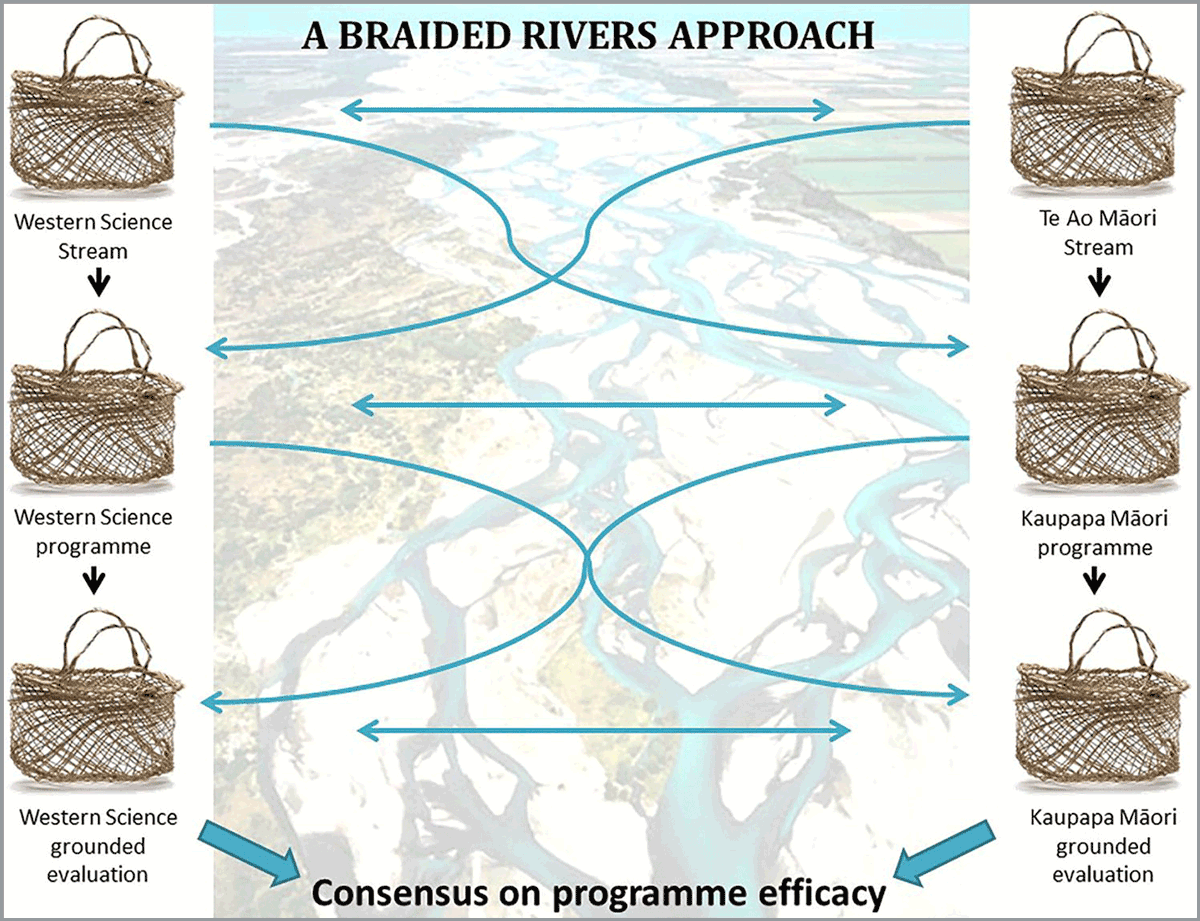 Illustration of the braided rivers approach using a braided river and woven baskets to illustrate the metaphor