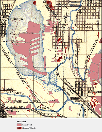 Map of Calumet Quadrangle with an overlay showing the change in wetlands area between circa 1900 and present day