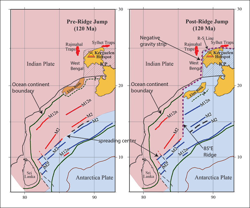 Illustration showing positions of the Indian and Antarctic plates and the line of opening between them before and after about 120 million years ago