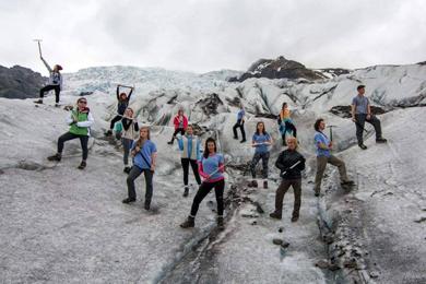 Student group standing on Vatnajokull glacier