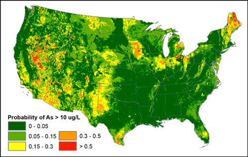 Map of United States showing probability of groundwater exceeding 10 micrograms per liter