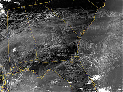 Contrails crisscross the southeastern United States in this NASA satellite image
