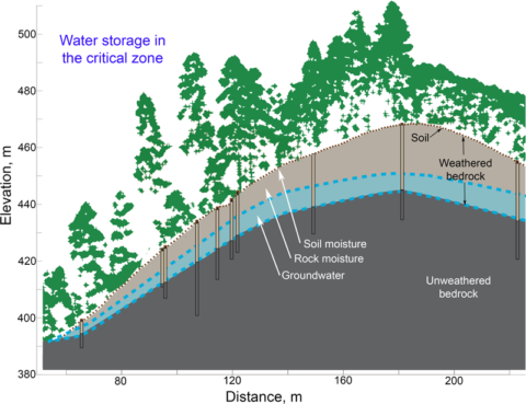 Diagram of a hillslope and hydrologic profile from the Eel River Critical Zone Observatory