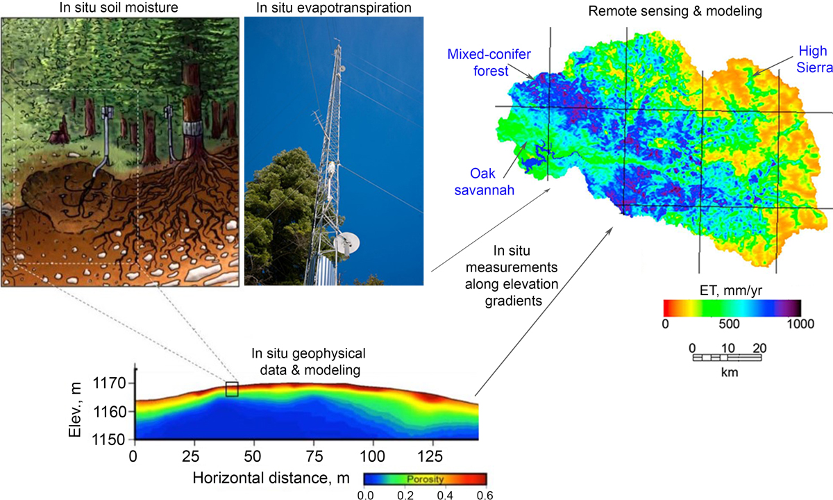 Diagram showing types and scales of measurements integrated to understand variations in subsurface water-related attributes in the Sierra Nevada