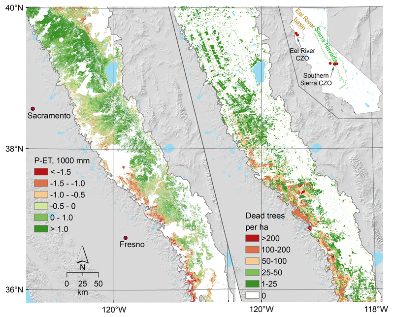 Diagrams showing cumulative water deficit summed over October 2011 to September 2015) across the Sierra Nevada (left) and reports of dead trees from aerial surveys in 2016
